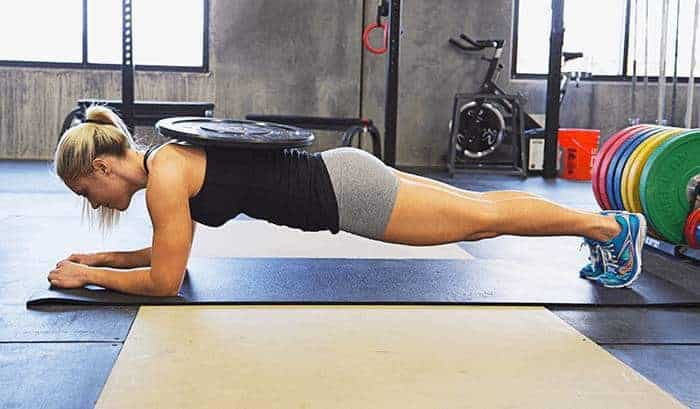 plank with weight